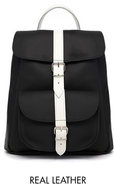Grafea Monochrome Leather Backpack - Black w/white
