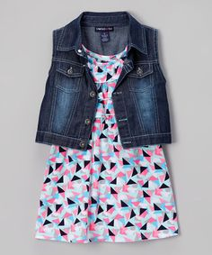 Loving this Blue & Black Yoke Dress & Denim Vest - Infant, Toddler & Girls on #zulily! #zulilyfinds