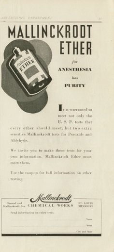 Mallinckrodt Chemical Works Co. Ether for Anesthesia