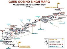 GGS Marg Map: Pilgrimage from Anandpur Sahib to Talwandi Sabo. |  Sikhpoint.com