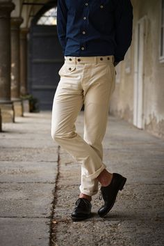 Workwear-inspired Pants made from a natural vanvas fabric from Japan featuring five pockets, button fly and suspender buttons, Corozo buttons. Denim Pants, Khaki Pants, Work Wear, Slim, Canvas, Fitness, Fabric, Cotton, Collection
