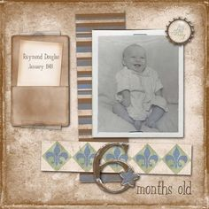 6 months old...cute retro look with journalling placed in an adorable pocket.