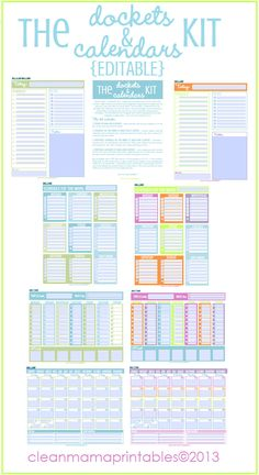 The EDITABLE Dockets and Calendars Kit