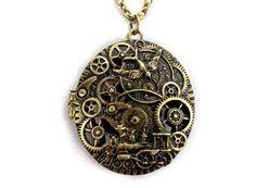 Antique Brass ChronoSgear Time Gear Jewelry Locket by peahenLee, $4.29