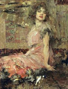 From Frye Art Museum, Nicolai Fechin, Lady in Pink (Portrait of Natalia Podbelskaya) Oil on canvas, 45 × 35 in Russian Painting, Russian Art, Figure Painting, Painting & Drawing, Nicolai Fechin, Russian American, Illustration Art, Illustrations, Oil Painting Reproductions