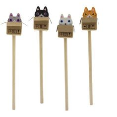 Cat in the Box - Eraser & Pencil Set of 4 - Pens & Pencils   Unique Gifts at Karma Kiss  - 1