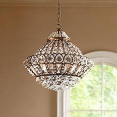 "Wallingford 16"" Wide Antique Brass and Crystal Chandelier - #W6879 | LampsPlus.com"