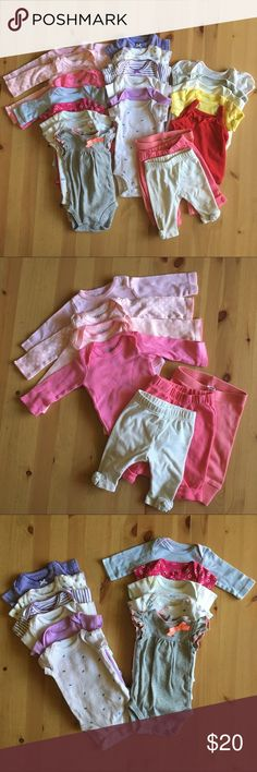 Newborn Bodysuits/Onesies/Pants/Tops Bundle  BEST BABY GIRL BUNDLE  23 articles of clothing all newborn size: 3 pants, 1 tank, 1 tee, 13 short sleeve bodysuits, and 5 long sleeve bodysuits. Some are preloved and some have never been worn! Brands include: Genuine Kids (Osh Kosh), Carter's (Just One You, Precious Firsts, Child of Mine), Old Navy, Okie Dokie, & Garanimals. Carter's One Pieces Bodysuits