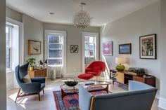A cramped apartment in a prewar apartment building becomes an inviting space for a young family.