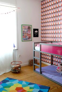 Eclectic Big Kid Room with Customized @IKEA USA  KURA Bed and Wallpaper Accent Wall - #ProjectNursery