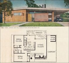 """1960 House Plan by Better Homes & Gardens. Two Bedrooms, One Bathroom. 1161 SqFt. """"Lots of light is afforded by the high windows, but privacy is maintained on the street-side. A terrace in the rear is easily accessed from both the living room and dining nook adjacent to the kitchen."""""""