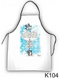 Szakács kötény, hóember és pingvin, karácsony