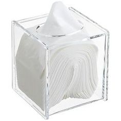 Acrylic Hinged-Lid Boutique Tissue Box, 12.99, Container Store -- all really want this one!
