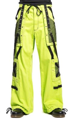 """Tripp NYC """"Toxic TekNology"""" Bondage Pants 86 87 These lime and black studded pants zip off into shorts and feature removable chains, adjustable ankles, zippers, D-rings, and deep pockets. Neon Outfits, Hip Hop Outfits, Punk Outfits, Grudge Outfits, Rave Pants, Baggy Clothes, Skirt Pants, Shorts, Character Outfits"""