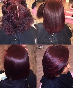 Short Bob Burgundy Color Glueless Lace Front Wigs With Baby Hair - Best Hairstyles Ideas Dyed Natural Hair, Blowout On Natural Hair, Colored Natural Hair, Curly Hair Styles, Natural Hair Styles, Burgundy Hair, Burgundy Natural Hair, Burgundy Color, Hair Laid