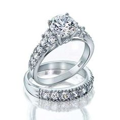 Bling Jewelry Sterling Silver Deco Style 4 Prong CZ Wedding Ring Set by Bling Jewelry available at joyfulcrown.com