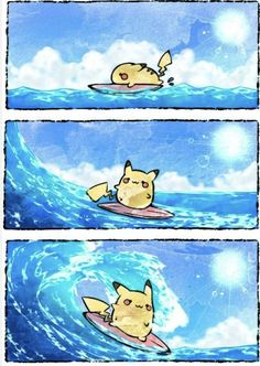 Credit to the artist Pokemon Comics, Pokemon Funny, All Pokemon, Pikachu Y Raichu, Cute Pikachu, Pikachu Evolution, Surf Tattoo, Pokemon Special, Pokemon Pictures