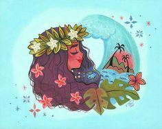 Moana sketch watercolor Disney princess fan art