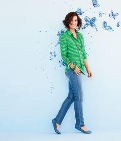 Dashing dots shirt & Indigo Dream Ankle Jean #ColdwaterCreek #ChenalShopping