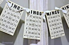 Vintage Bingo Card Banner by Homeroad on Etsy Grandma Birthday, 80th Birthday, Game Night Decorations, Bingo Party, Game Party, Bingo Night, Family Fun Night, Game Themes, Fundraising