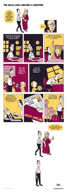 The DALAI LAMA answers a question, illustrated by Zenpencils.