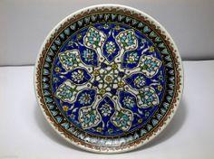 """Vintage Islamic Kutahya Turkish OTTOMAN Pottery PLATE Signed SAZ Leaves 8.5"""""""