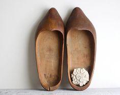 Vintage Primitive Hand Carved Dutch Clogs  by shavingkitsuppplies