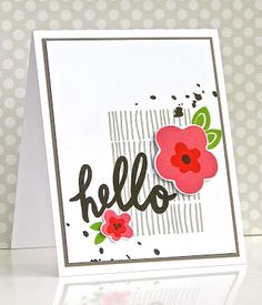 SSS April card kit 2016; hello; splatter; black and white with a pop of color