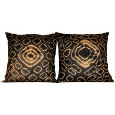 Antique African tie-dyed Kuba cloth pillow pair with Dupioni silk backing | From a unique collection of antique and modern pillows and throws at https://www.1stdibs.com/furniture/more-furniture-collectibles/pillows-throws/
