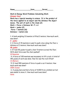 9 Physics Work Worksheet With Answers