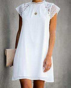 White Shift Dresses, White Dress, Dress Skirt, Dress Up, Diy Scarf, Miami Fashion, Crochet Lace, White Lace, Marie