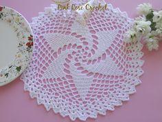 PINK ROSE CROCHET: Centrinho Catavento Branco Pinwheel Place Mat