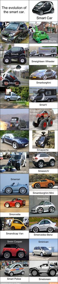 Evolution of the Smart Car. - Imgur (I know some of these are photoshopped of the real cars, but they still make me smile)