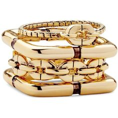 DIANE VON FURSTENBERG Chain Link Silver Ring Set ($98) ❤ liked on Polyvore featuring jewelry, rings, gold plated, geometric ring, silver jewellery, diane von furstenberg, stackers jewelry and set rings