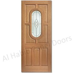 The uk's best selling door, the wonderful Acacia Bevelled Cluster style glass door with beautiful brass leaded design on an opaque background with privacy. Acacia door with bevelled cluster glass The type of timber used is an undecorated re Glass Panel Door, Panel Doors, Glass Panels, Wooden Double Doors, Wooden Doors, Glazed External Doors, Flush Doors, Wooden Door Hangers, Exterior Doors