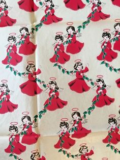 Vintage MIDCENTURY COWBOYS/GIRLS / ANGELS CHRISTMAS WRAPPING PAPER Rare 2 Sheets   eBay