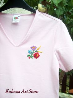 Ladies V neck T Kalocsa floral pattern by KalocsaArtStore on Etsy, $25.00 Art Store, Lady V, Clearance Sale, V Neck, Embroidery, Floral, Fabric, Pattern, Cotton