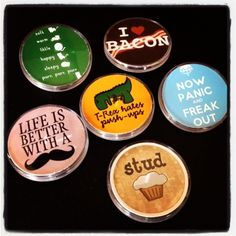 Day 4: Pin it and LOL. Create silly buttons with My Image Button Maker. Upload your images at www.MyPhotosizer.com or download the FREE MyPhotosizer smartphone app! friendship-bracel... #craft #button #diy #mustache #studmuffin #keepcalm #bacon #softkitty #trex #funny #lol
