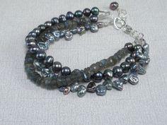 Labradorite Multistrand Blue Black 3 Strand by rarefindjewelry, $28.00