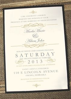Vintage Elegant Wedding Invitation by Annamalie on Etsy