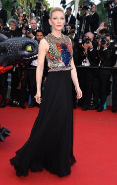 """Pin for Later: When They Say """"Dress to Impress,"""" This Is What They Mean Cate Blanchett Cate Blanchett certainly found the perfect dress in her scaled Givenchy design when she attended the Cannes premiere of How to Train Your Dragon 2."""