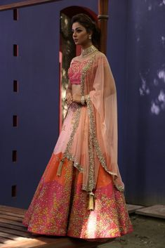 Peach/Coral lehenga with integrate hand zardozi work with the details of butterflies and birds. Material: Georgette, Lycra Net Dry Clean Only Indian Wedding Outfits, Indian Outfits, Wedding Dresses, Indian Attire, Indian Wear, Ethnic Fashion, Indian Fashion, Raw Silk Lehenga, Indian Bridal Lehenga