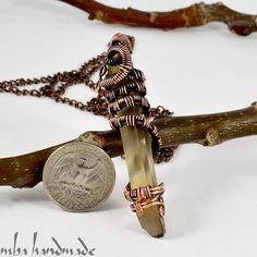 Smoky Quartz Crystal Point Necklace Antiqued Copper Wire Wrapped Rough Gemstone | eBay