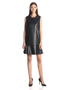 BCBGMax Azria Women's Sheridan Faux Leather Sleeveless Dress