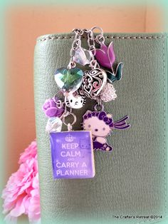 Hello Kitty Carry a Planner in Lavendar Love, Kate Spade, Gillio, Daytimer, Erin Condren  Filofax Planner, Purse, Phone or Key Charm