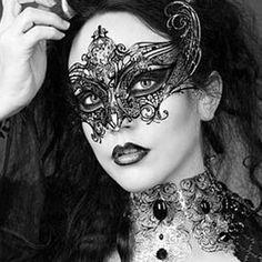 Gothic Empress Black Metal Filigree Mask Laser by Glamorousgala
