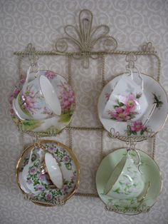Heirloom, vintage teacups & saucers, can create such a cheerful display.