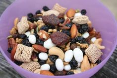 Sweet But Healthy trail mix: dried strawberries and blueberries, oatmeal squares, yogurt-covered raisins, cashews, pepitas and more. Yum!