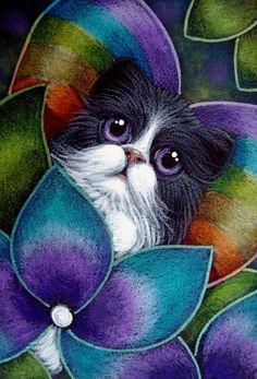 """Tuxedo Persian Cat Behind the Hydrangea Flowers"" par Cyra R. Cancel"