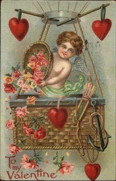 Valentine's Day Cupid in Hot Air Balloon c1910 Postcard picclick.com